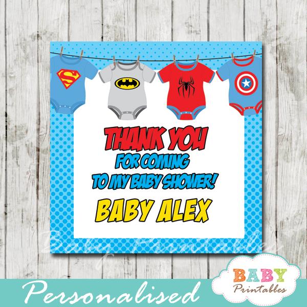 printable custom superhero baby shower favor gift tags