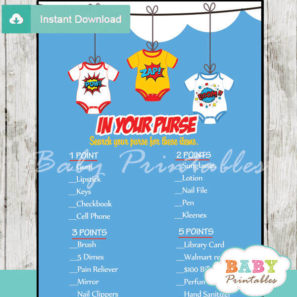 superhero what's in your purse baby shower game printable