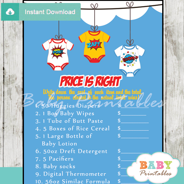 superhero Price is Right Baby Shower Games printable pdf