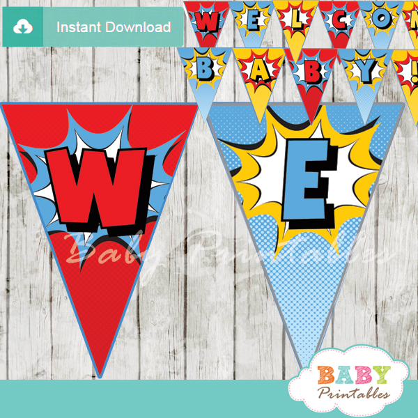 printable comic superhero welcome banner decoration personalized