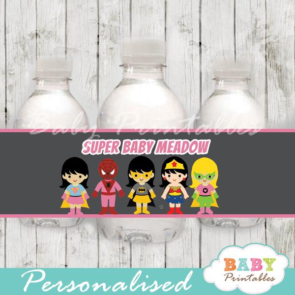 printable superhero girls personalized bottle wrappers diy