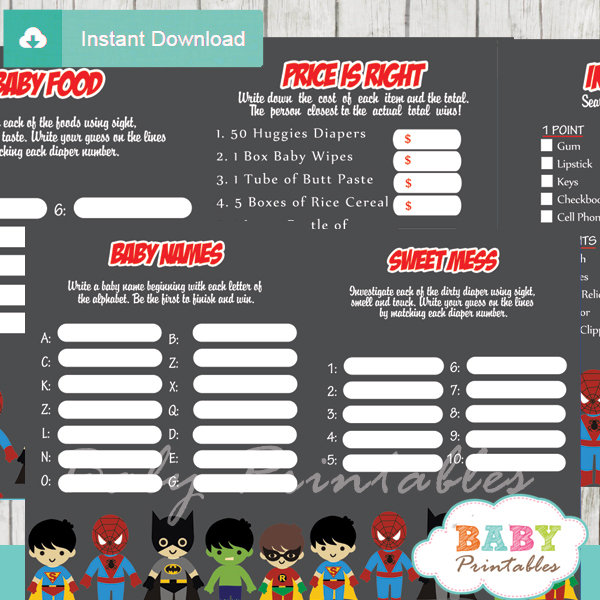 printable superhero boys baby shower games package