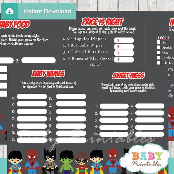printable superhero boys baby shower games package