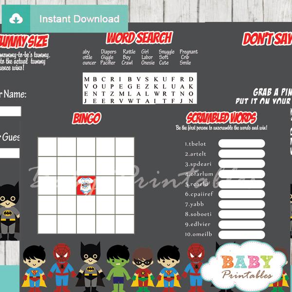 printable superhero boys baby shower fun games ideas