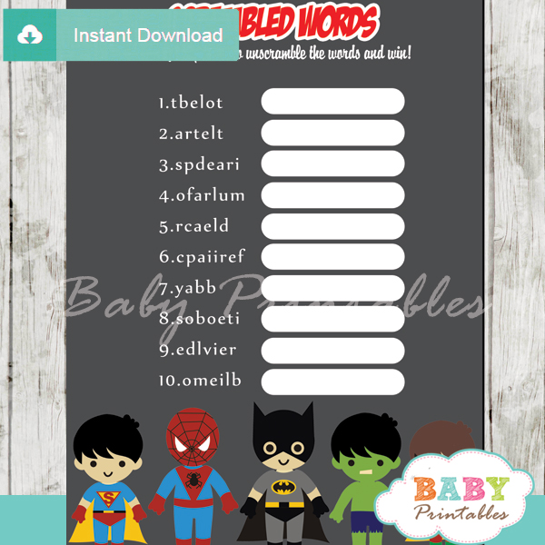 boy superhero printable baby shower unscramble words game
