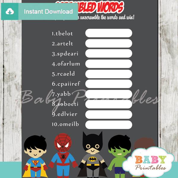 boy superhero printable baby shower unscramble words game
