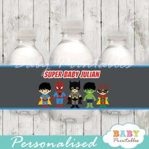 printable superhero boys personalized bottle wrappers diy