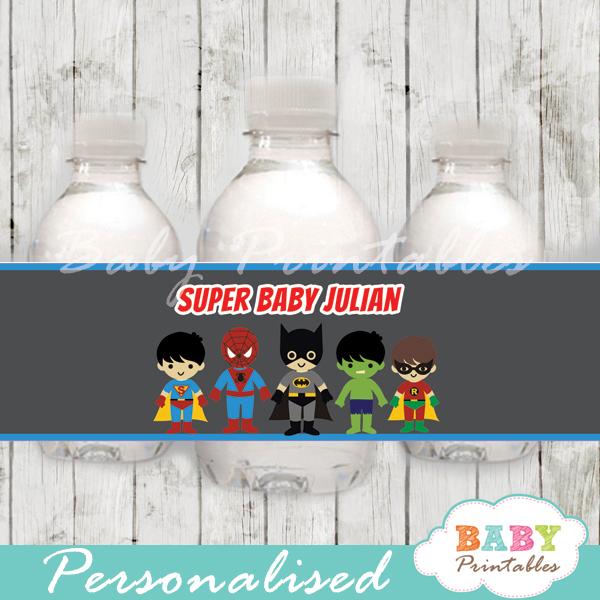 printable superhero boys personalized bottle wrappers diy