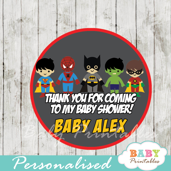 printable superhero boys personalized favor tags toppers
