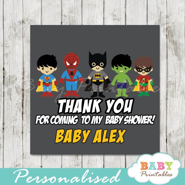 printable custom superhero baby boys favor gift tags
