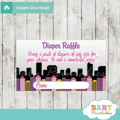 printable superhero girl comic book diaper raffle game cards baby shower