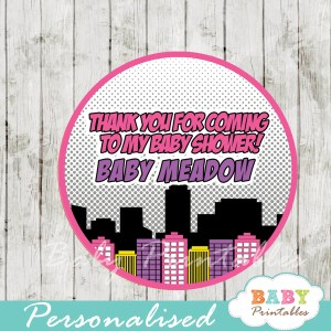 printable superhero comic book girls personalized favor tags toppers