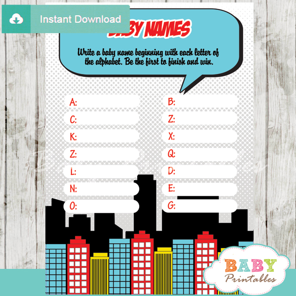 boys comic book printable Name Race Baby Shower Game cards