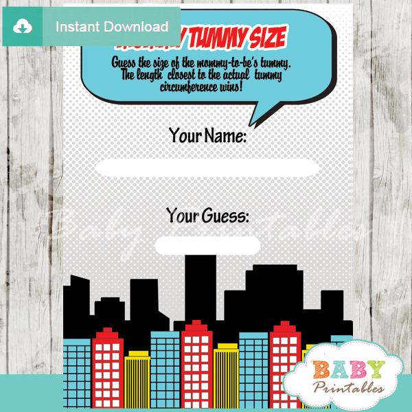 boy comic book printable measure the belly baby shower game