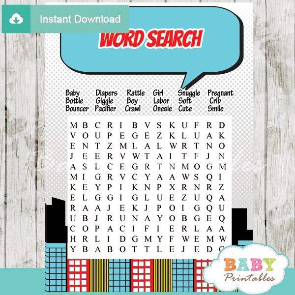 boy comic book baby shower word search game printable puzzles