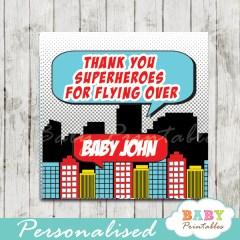 printable comic book superhero baby boy favor gift tags