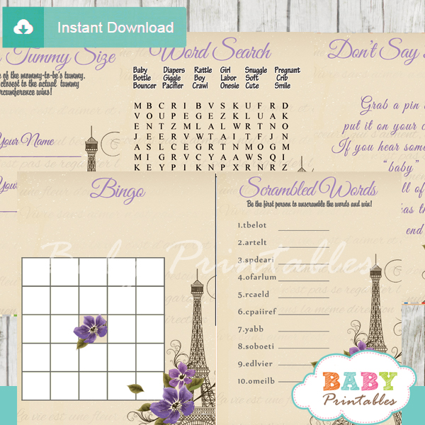 printable french paris baby shower fun games ideas