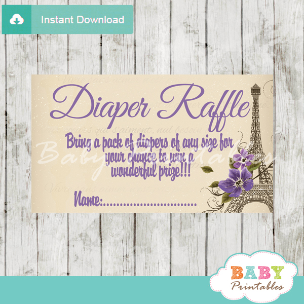 printable paris eiffel tower vintage diaper raffle game cards baby shower