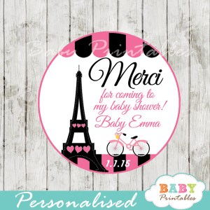printable french bicyle paris eiffel tower personalized favor tags toppers