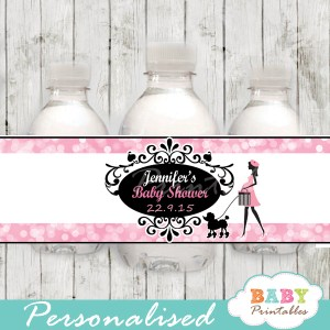 printable french poodle paris personalized bottle wrappers diy