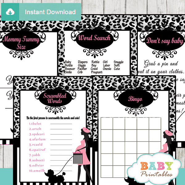 printable french pink paris poodle baby shower fun games ideas