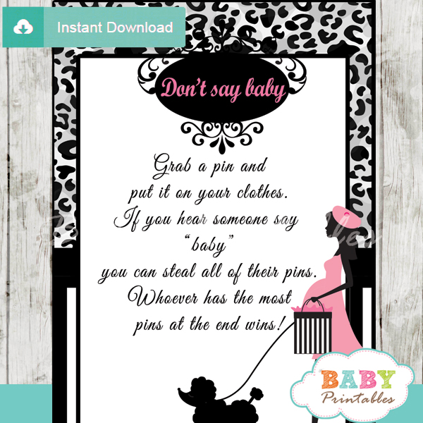 poodle paris printable game Dont Say Baby pdf