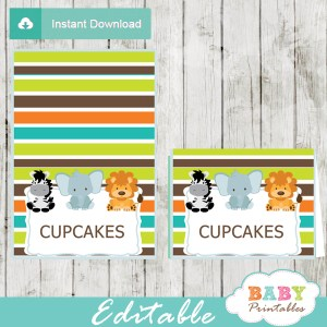 safari theme baby shower food labels
