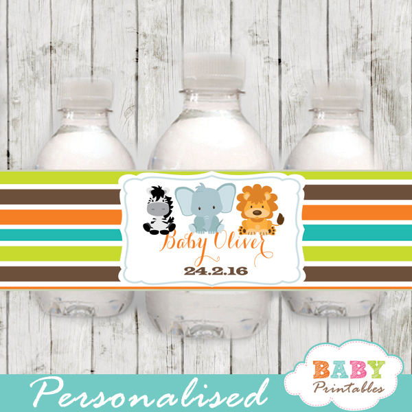 safari themed water bottle labels