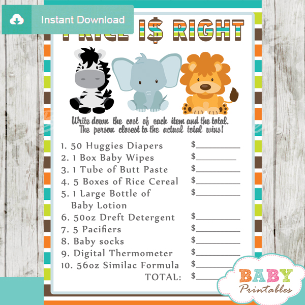 baby shower safari games giuess the price