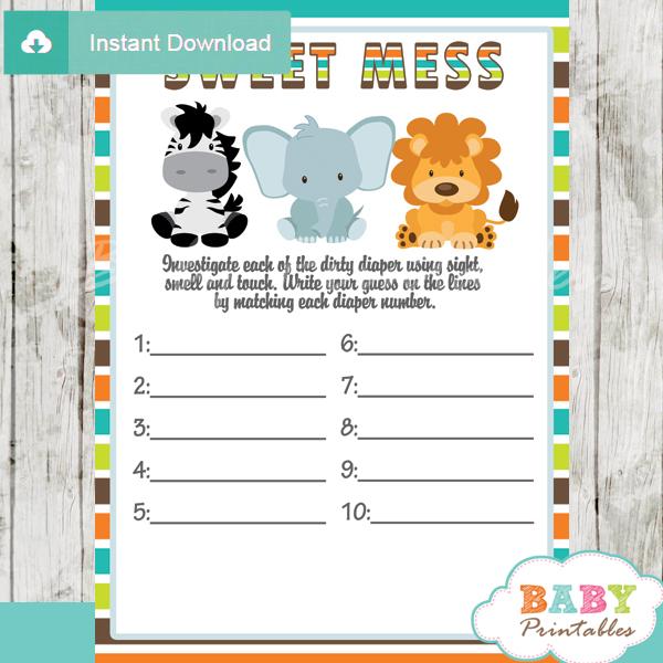 Safari Theme Baby Shower Games Printable