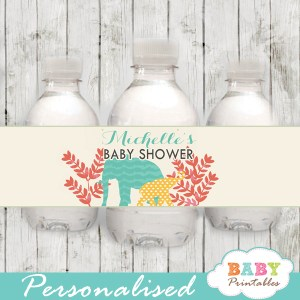 elephant safari themed water bottle labels