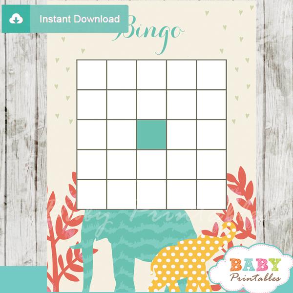 baby shower safari games bingo