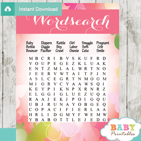 word games for baby shower