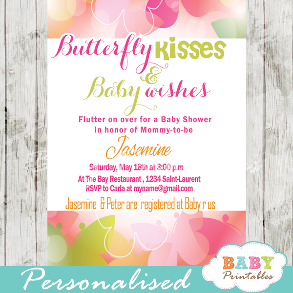 Spring bokeh butterfly baby shower invitation d236 baby printables butterfly themed baby shower invitations pink green bokeh filmwisefo Image collections