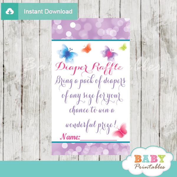 printable purple butterfly diaper raffle game cards baby shower