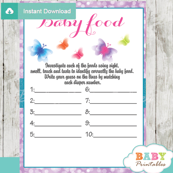 printable butterfly baby shower games blind tasting baby food