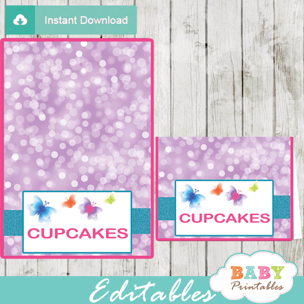 printable purple butterfly editable food label cards