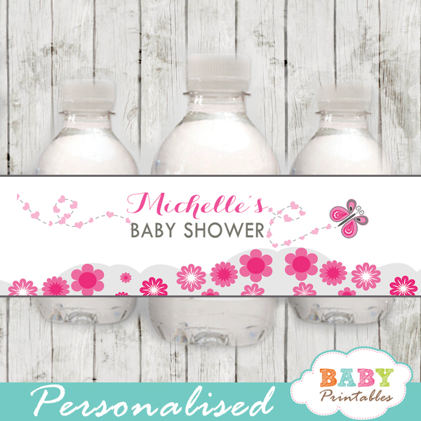 printable pink butterfly personalized bottle wrappers diy