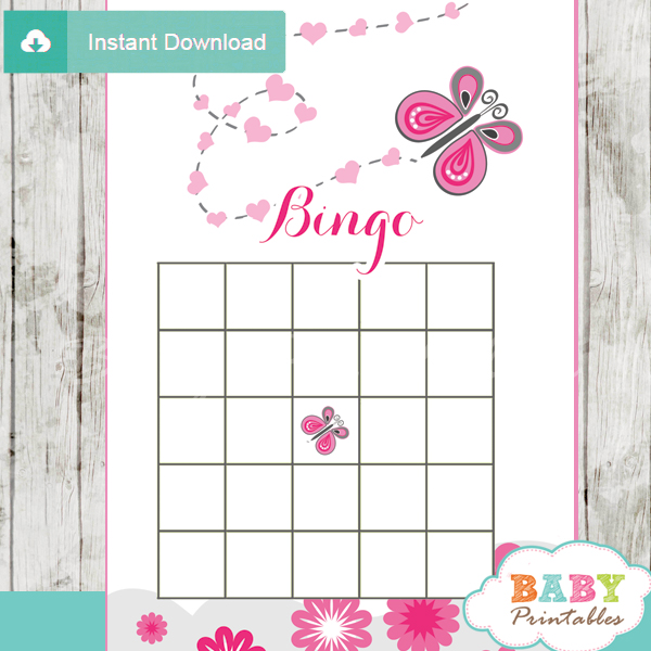 pink butterfly bingo games to play at a baby shower