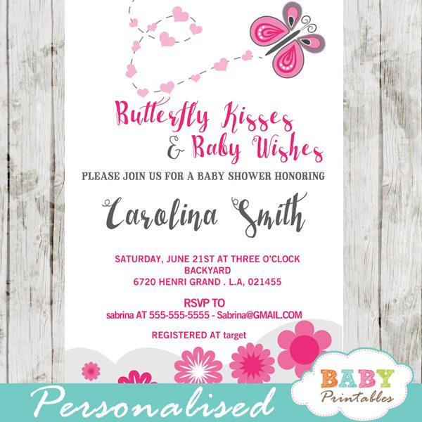 Pink Erfly Baby Shower Invitation D238