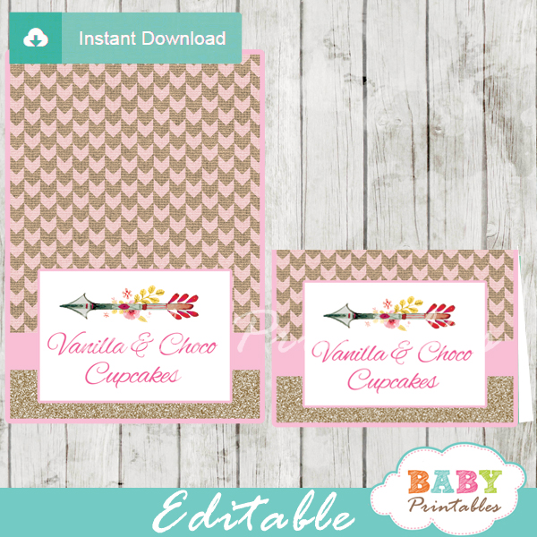 tribal baby shower food labels