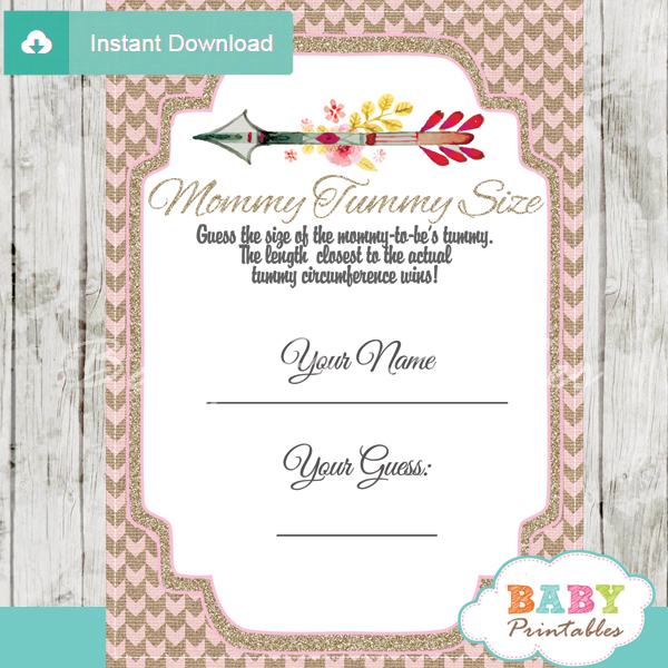 Burlap Pink Tribal Arrow Baby Shower Games D240 Baby
