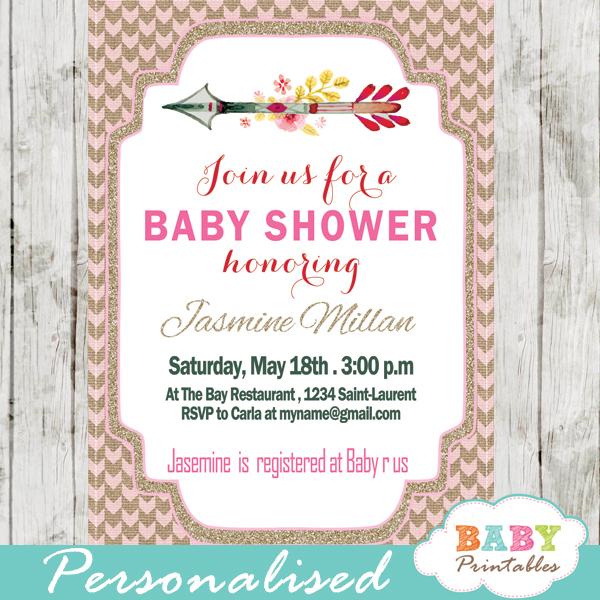 burlap pink boho arrow baby shower invitations