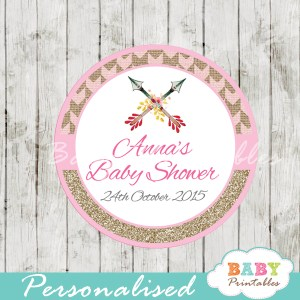 tribal arrow personalized baby shower favor tags