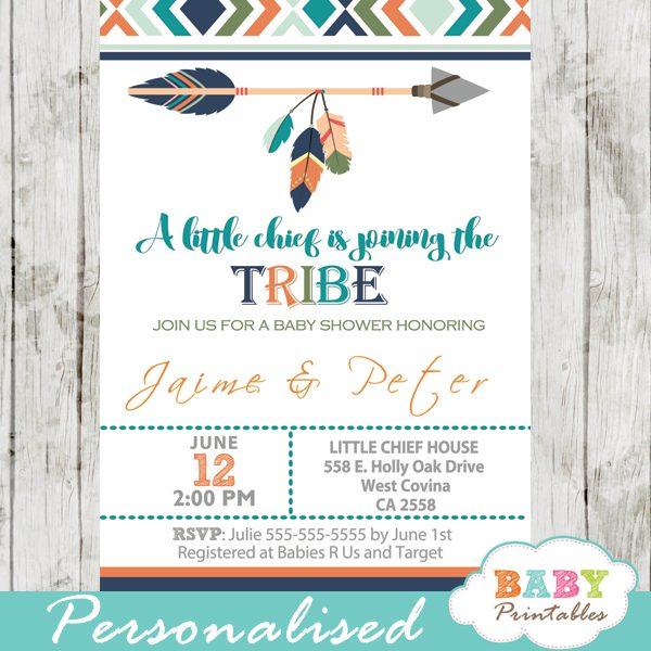 Tribal Baby Shower Invitation For Boys Boho Arrow D242