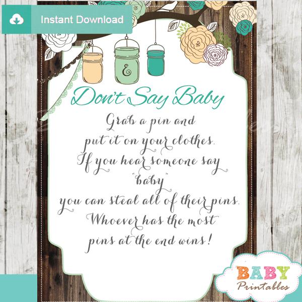 baby shower mason jar games don't say baby