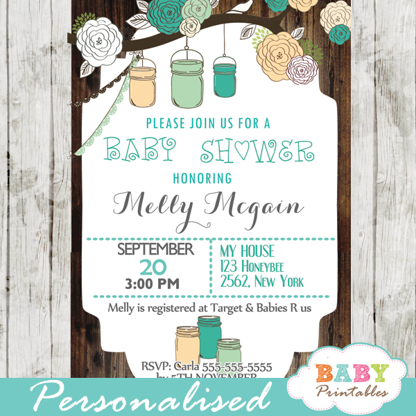 Rustic Country Mason Jar Baby Shower Invitation Blue Peach D250