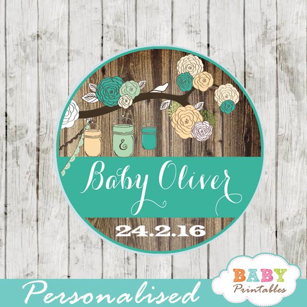 blue country rustic mason jar custom baby shower labels
