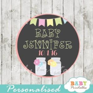 bunting floral mason jar custom baby shower labels