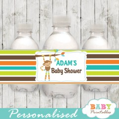monkey personalized baby shower water bottle labels